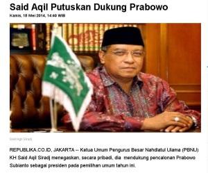 Said Aqil dukung Prabowo