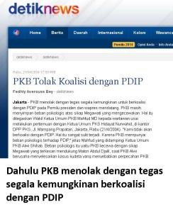dahulu PKB menolak berkoalisi dengan PDIP
