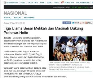 tiga ulama besar dukung Prabowo-Hatta