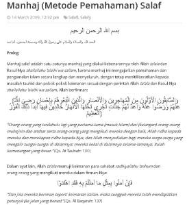 merasa mengikuti pemahaman salaf
