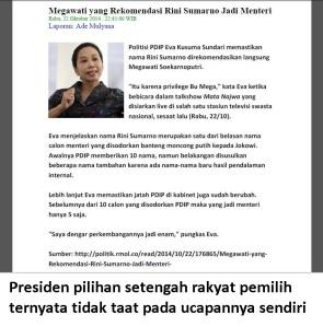 Jokowi tidak taat ucapan