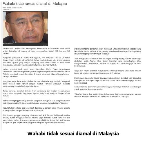 Fatwa Wahabi tidak sesuai di Malaysia