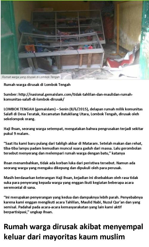 rumah warga di lombok tengah dirusak