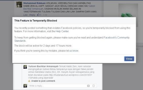 sedang di block Facebook