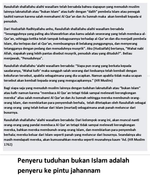 penyeru tuduhan bukan Islam